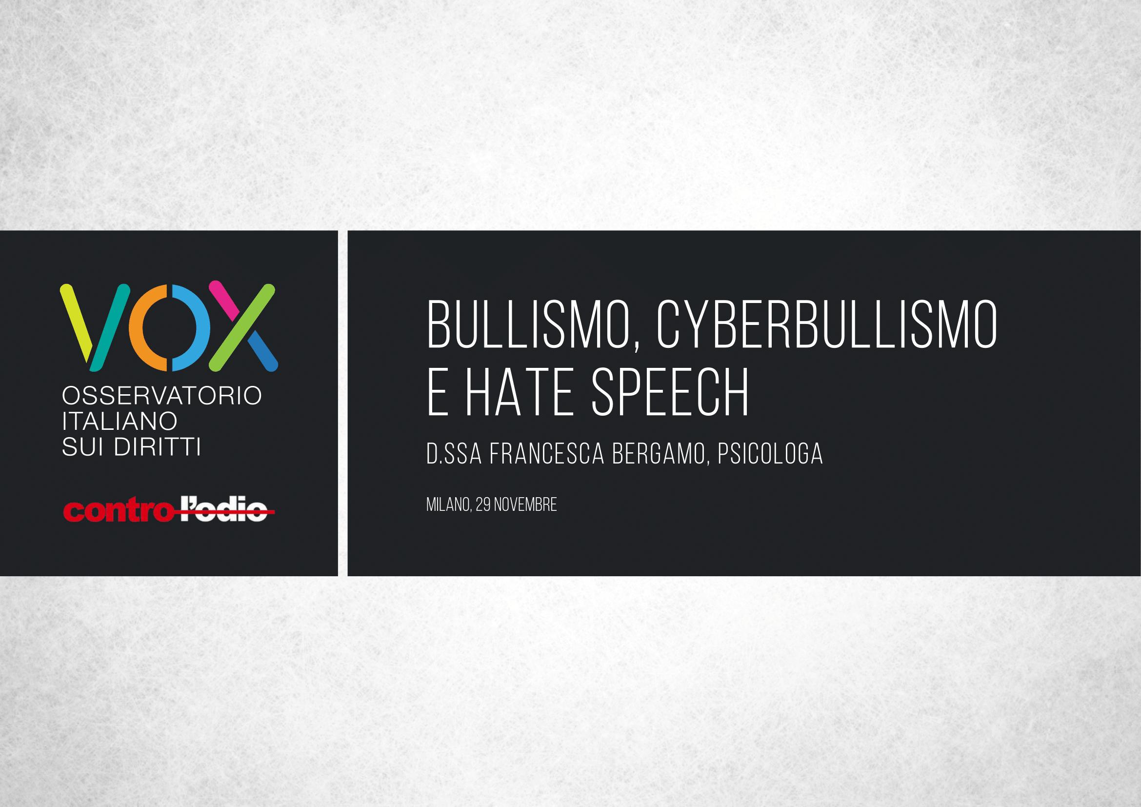 Presentazione delle slide sul bullismo e sull'odio online