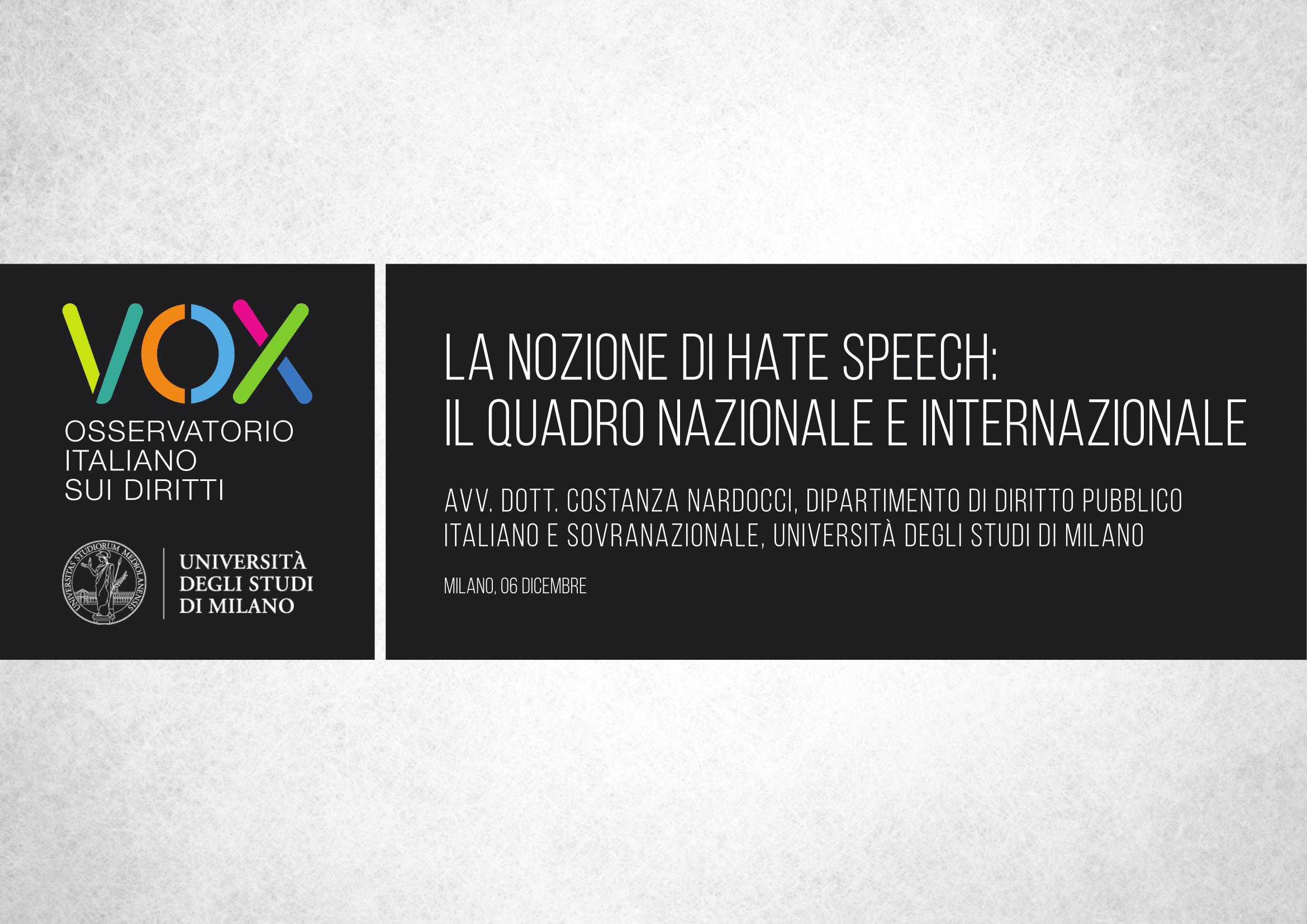 Presentazione delle slide di Costanza Nardocci, approfondimento giuridico sull'odio