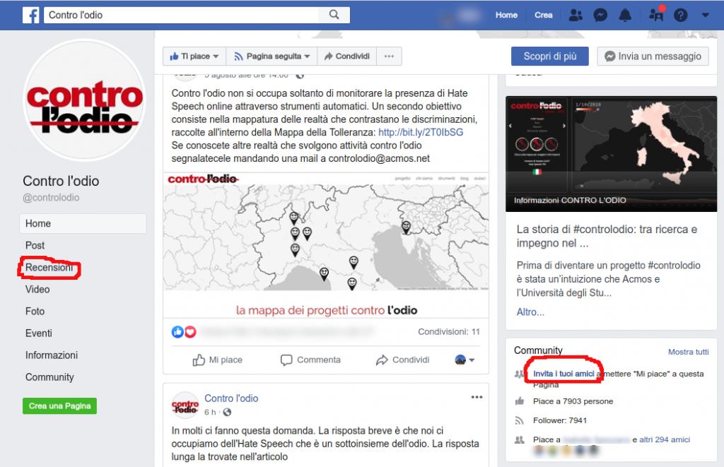 aiutare contro l'odio su facebook invita amici recensione
