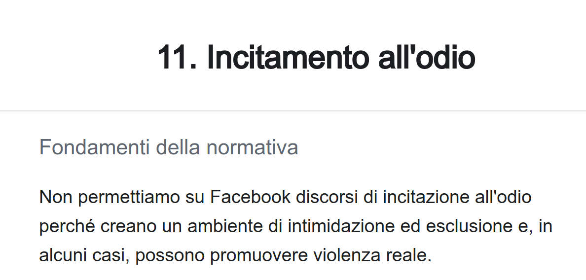 segnalare a Facebook un discorso d'incitamento all'odio o Hate Speech