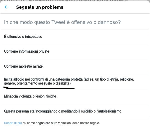 secondo step per segnalare un Hate Speech su Twitter