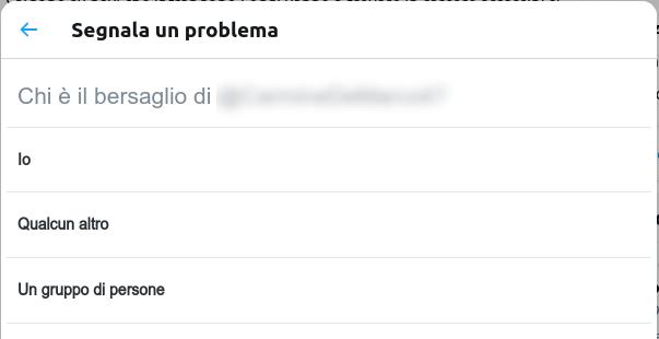 terzo step per segnalare un discorso di incitamento all'odio su Twitter