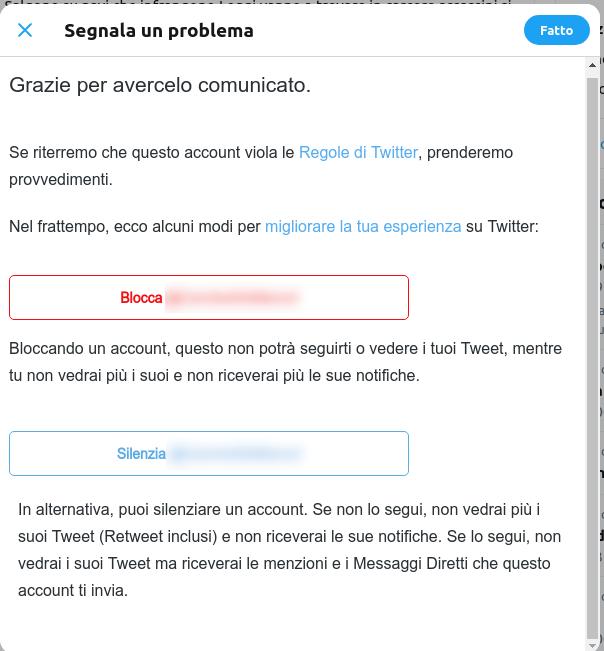 quarto step per segnalare un discorso di incitamento all'odio su Twitter