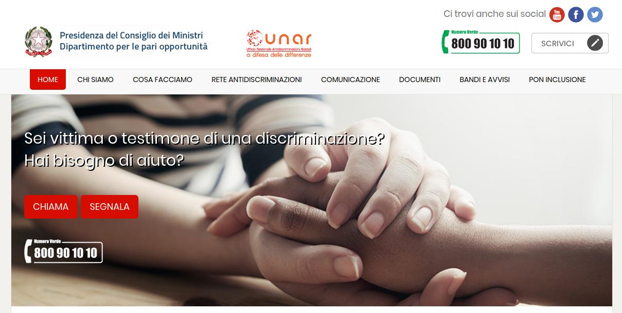 segnalare una discriminazione a UNAR, homepage