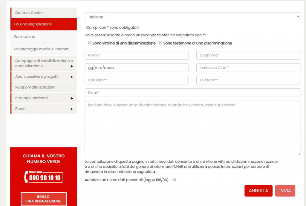 il form online per segnalare una discriminazione a UNAR
